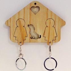 Chaveiro Família 3 Elementos com Cão