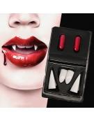 Conjunto Dentes Vampiro e Sangue Falso